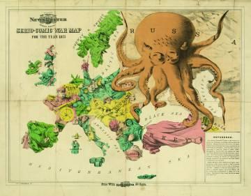 El mapa 'Serio-Comic War', realizado en 1877 por Frederick W. Rose, es uno de los que incluye el volumen 'Mapas' (Phaidon).