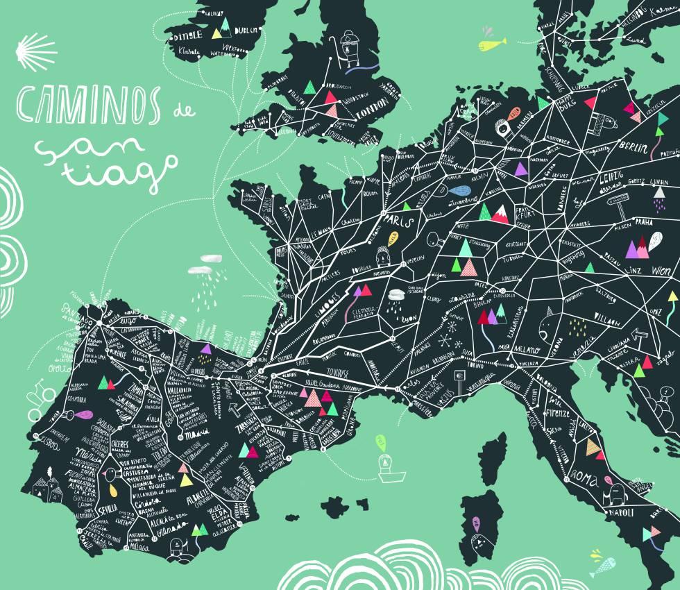 'Come All the Way! (Caminos Santiago)', un plano que marca las diferentes rutas europeas para llegar a Santiago de Compostela.