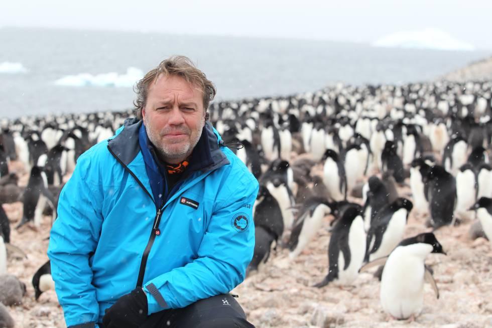 El periodista, rodeado de pingüinos en una expedición a la isla Paulet, en la Antártida.