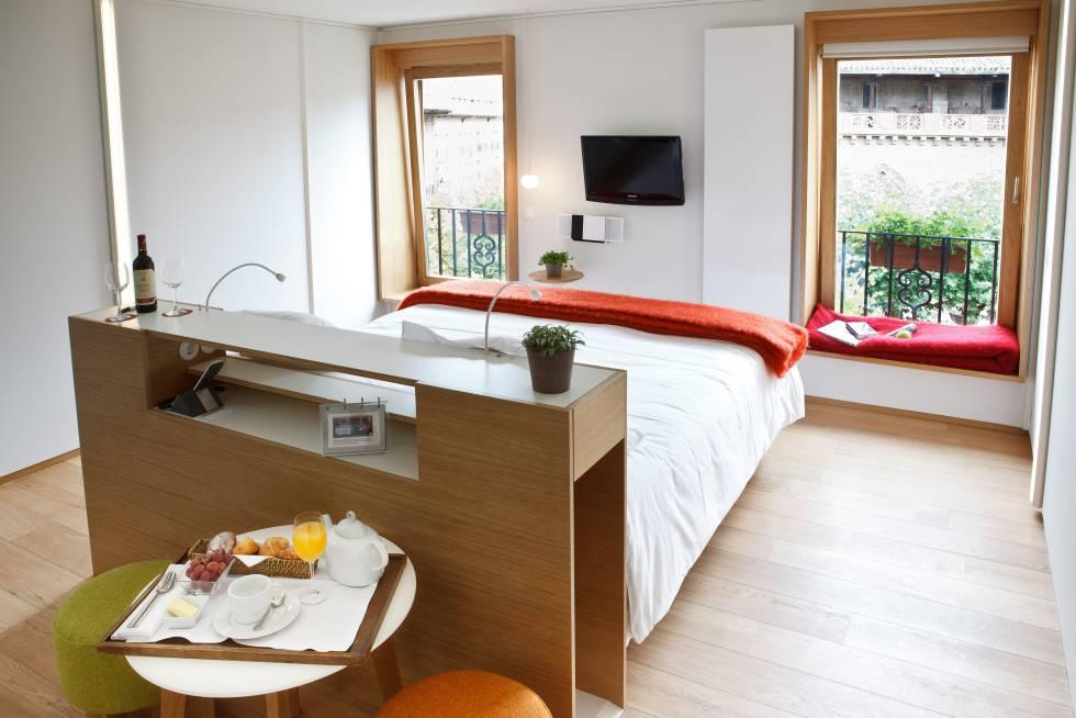 Habitación del hotel Echaurren, hermano del restaurante El Portal, en Ezcaray.