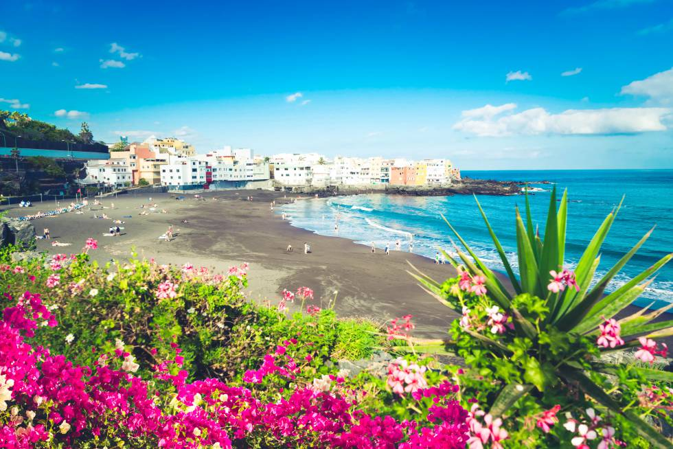 Playa Jardín, en Puerto de la Cruz (Tenerife).