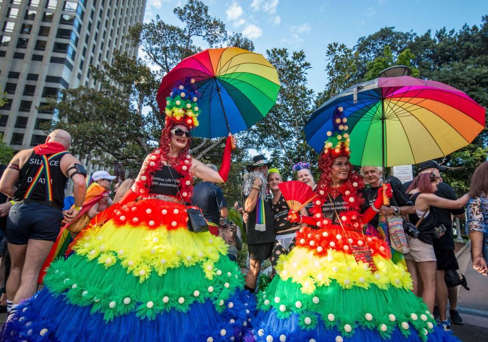 Miembros de la asamblea de gais y lesbianas de Sídney, durante la 'Mardi Gras'.