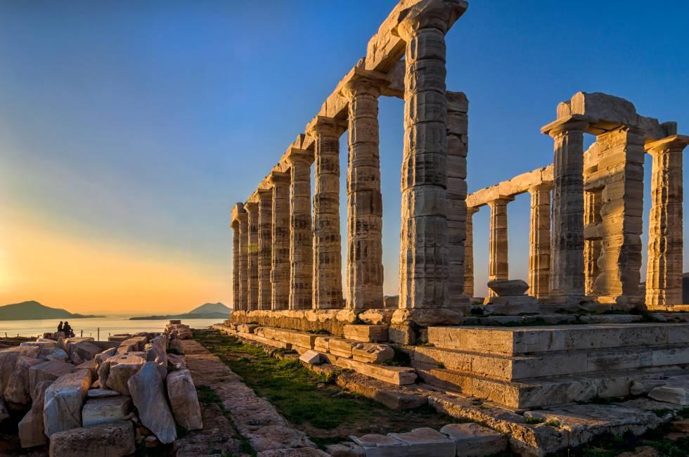Un atardecer en el templo de Poseidón, en el cabo Sounion.