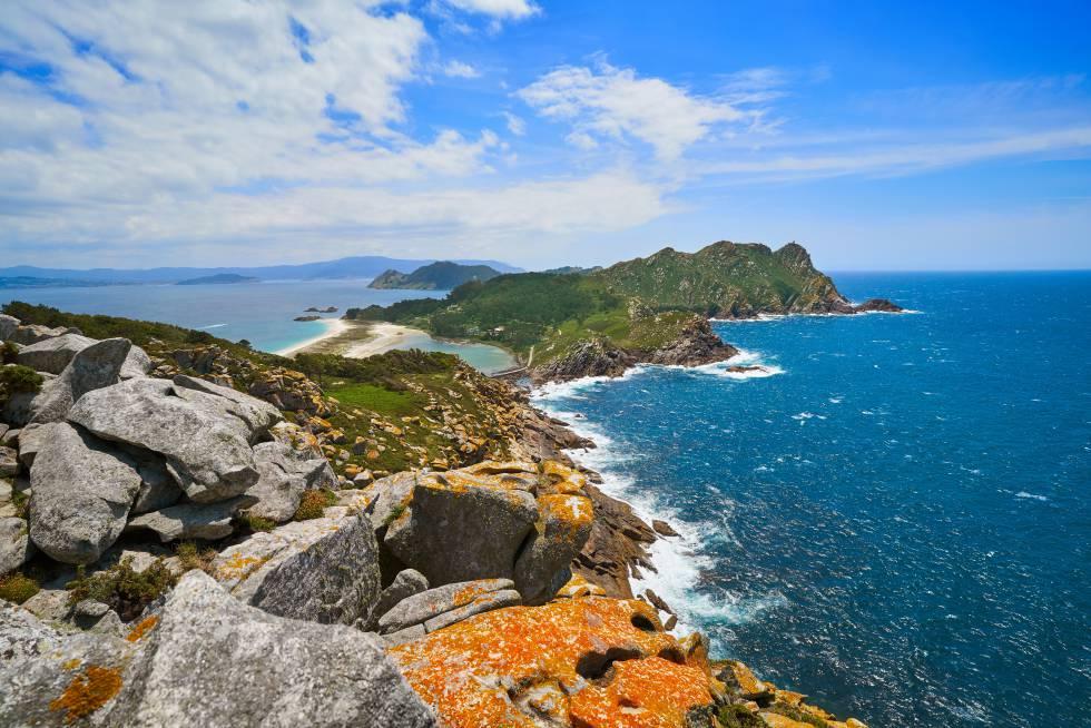 Panorámica desde el Alto del Príncipe, en las islas Cíes.