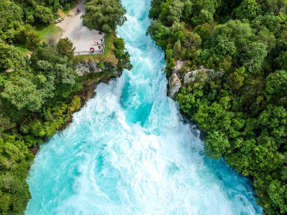 Las cataratas Huka, en Nueva Zelanda.