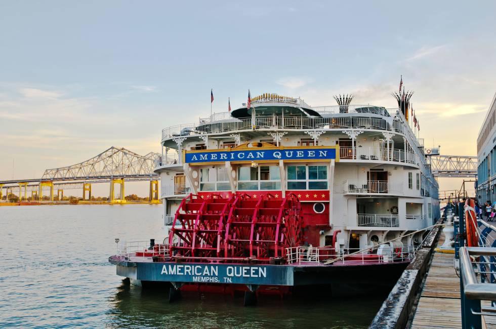 El 'American Queen', atracado en el puerto de Nueva Orleans (Lusiana, EE UU).