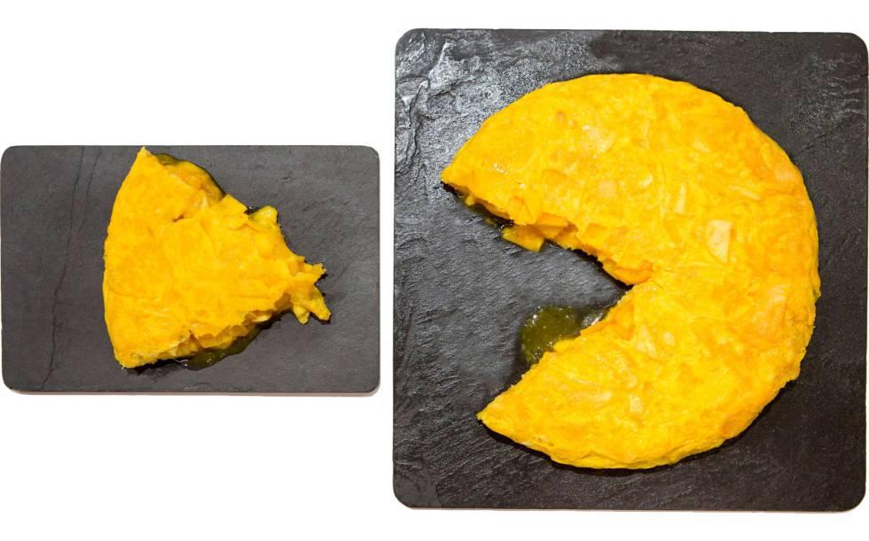 La tortilla de Mesón O Pote, cortada para que parezca un comecocos, en Betanzos (A Coruña).
