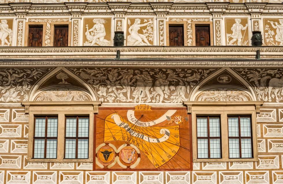 Detalle de la fachada del castillo de Litomysl, en la República Checa.