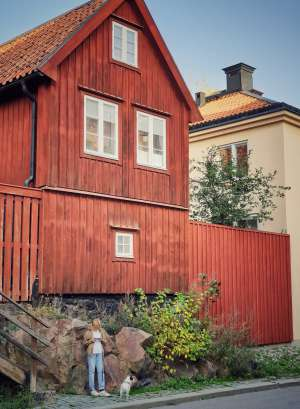 Una casa de madera en el bohemio barrio de Södermalm.