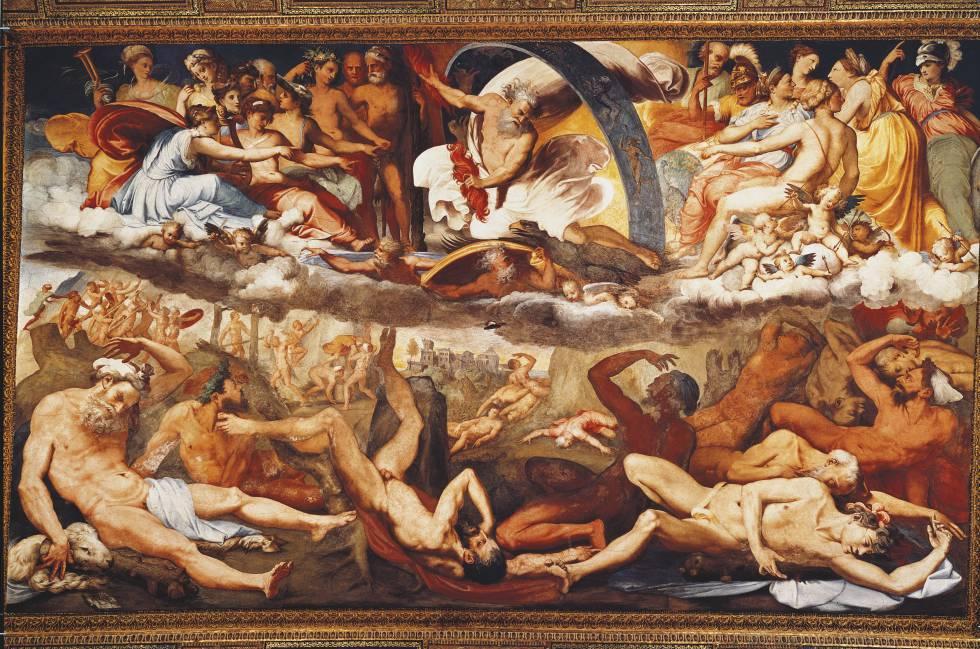 'La caída de los gigantes' (1531-1533), fresco de Piero di Giovanni Bonaccorsi en Villa Doria Pamphili.
