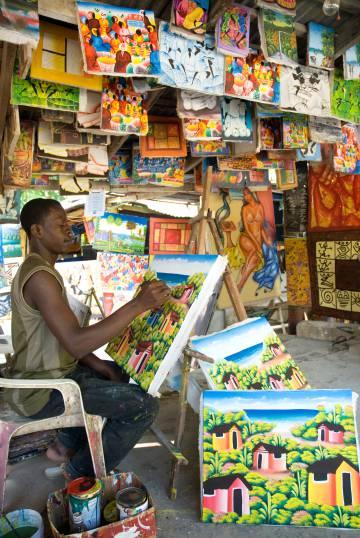 Un artista en la ciudad de Las Terrenas.