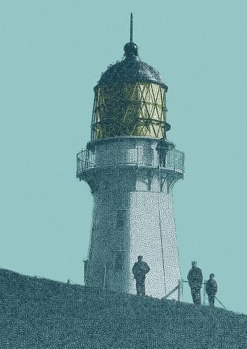 Faro de la isla de Stephens, en el extremo norte de Marlborough Sounds, en la Isla Sur de Nueva Zelanda.