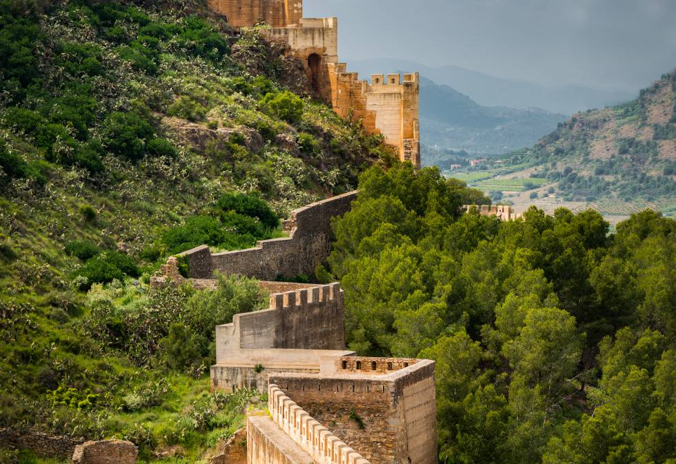 La muralla del castillo de la ciudad valenciana de Sagunto.
