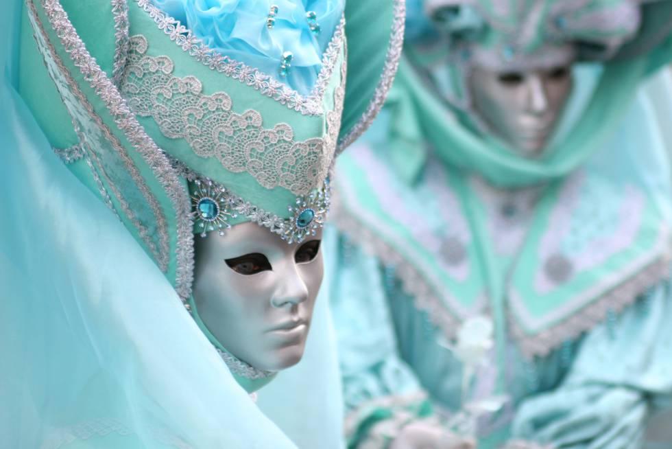Máscaras venecianas en el Carnaval de Venecia.