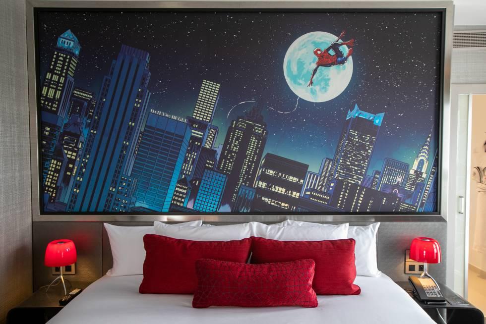 Detalle de una de las habitaciones del nuevo Hotel New York: The Art of Marvel.