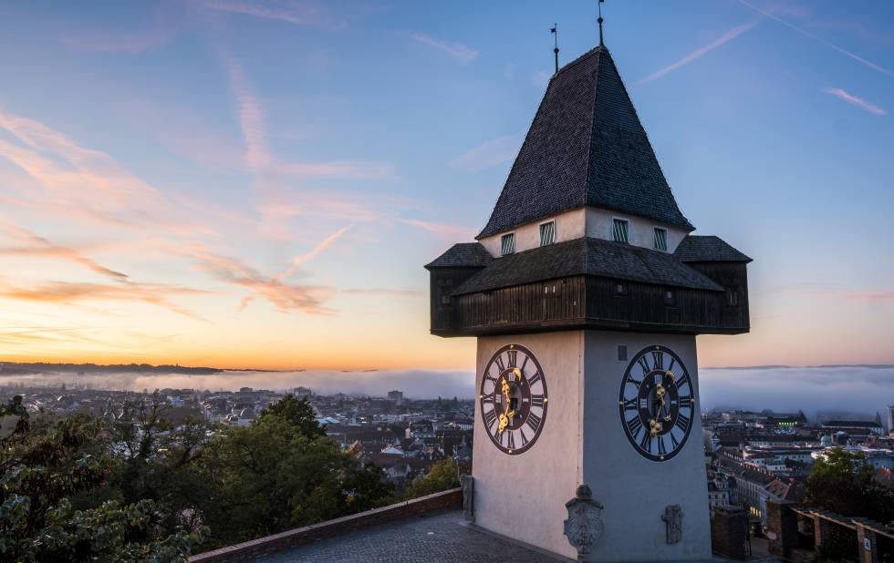 The iconic Clock Tower on Mount Schlossberg.  From 1560, it houses three bells, including the oldest in the city (1385).