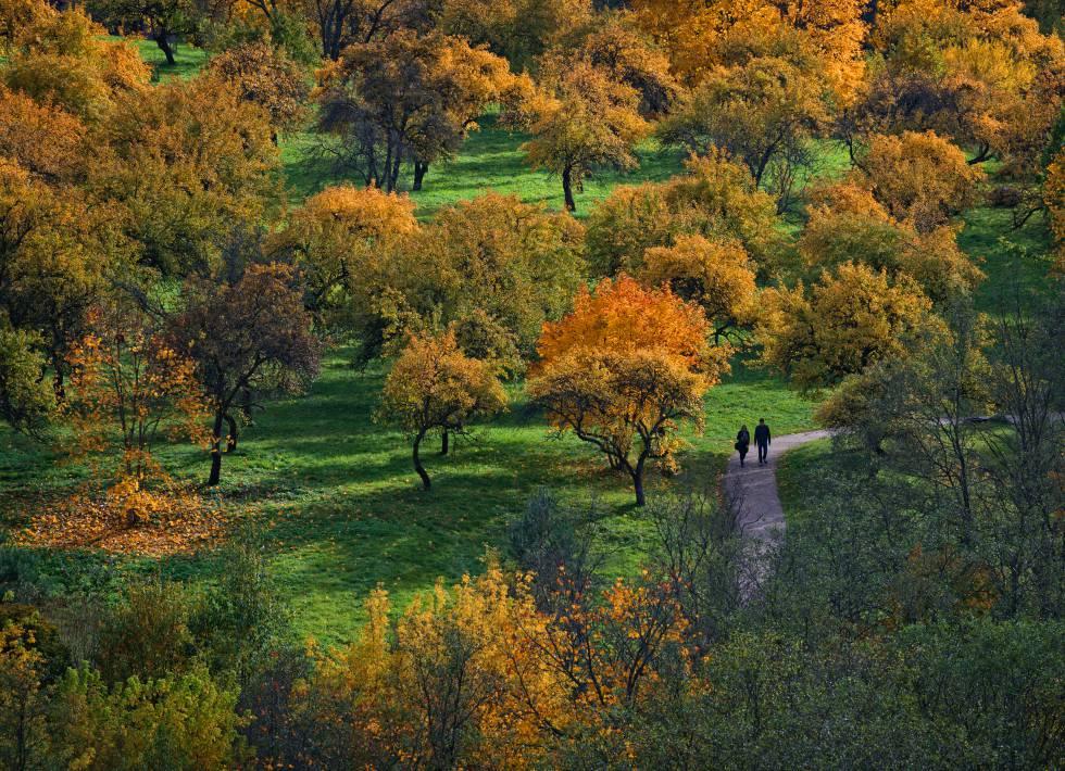 Una pareja, en un parque de Vilnius.
