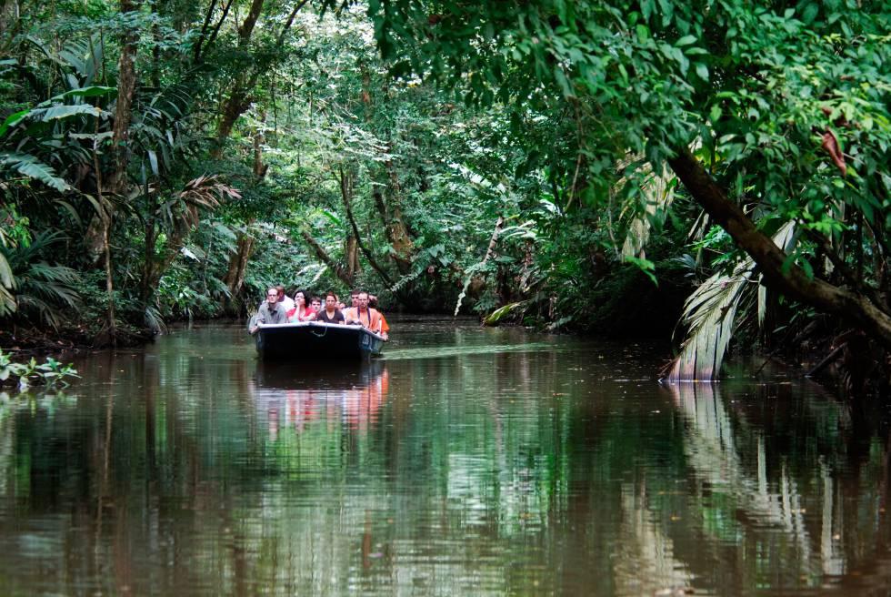 Un bote con turistas navega por los canales del parque nacional de Tortuguero, en Costa Rica.