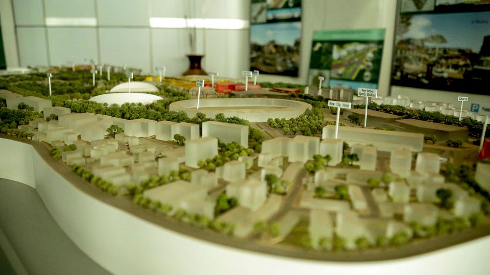 Maqueta con plan de construcción de viviendas