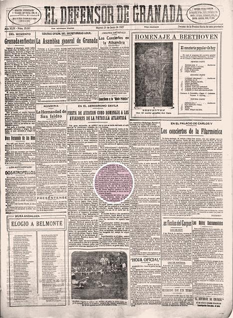 Página del periódico 'El defensor de Granada'