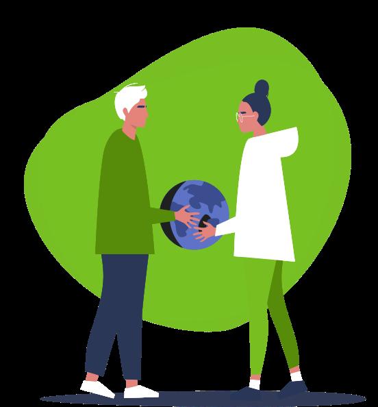 Ilustración de dos personas sosteniendo un globo terráqueo