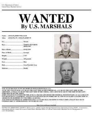 Cartel de 'se busca' del FBI con el aspecto de John Anglin.