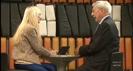 A moment from the interview with Nobel winner Mario Vargas Llosa.