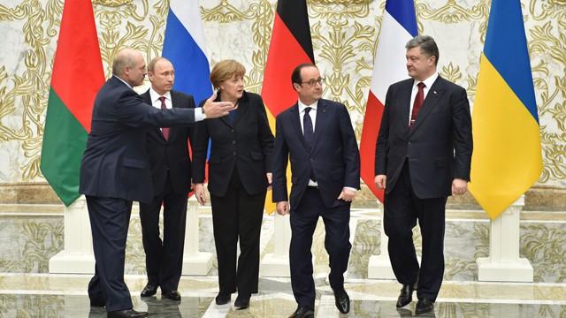 Os líderes que participaram de cúpula do Minsk.