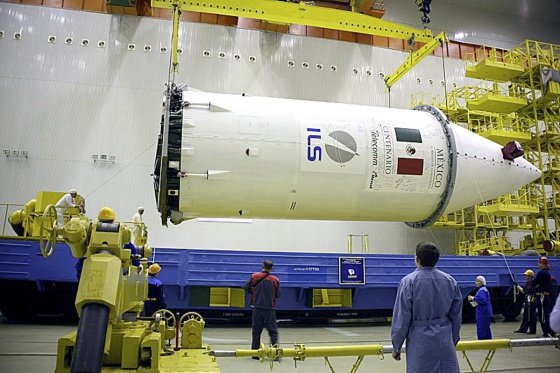 The Mexican telecommunications satellite Centenario during its assembly.