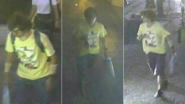 Imagens do suspeito pelo ataque em Bancoc divulgadas pela polícia.