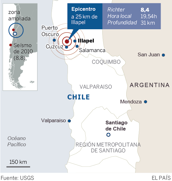 Chile Earthquake Central Chile Shaken By 84 Magnitude Earthquake