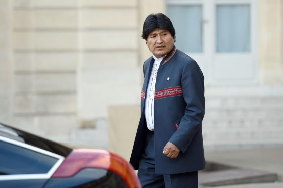 President Evo Morales, following his meeting with French President François Hollande in Paris.