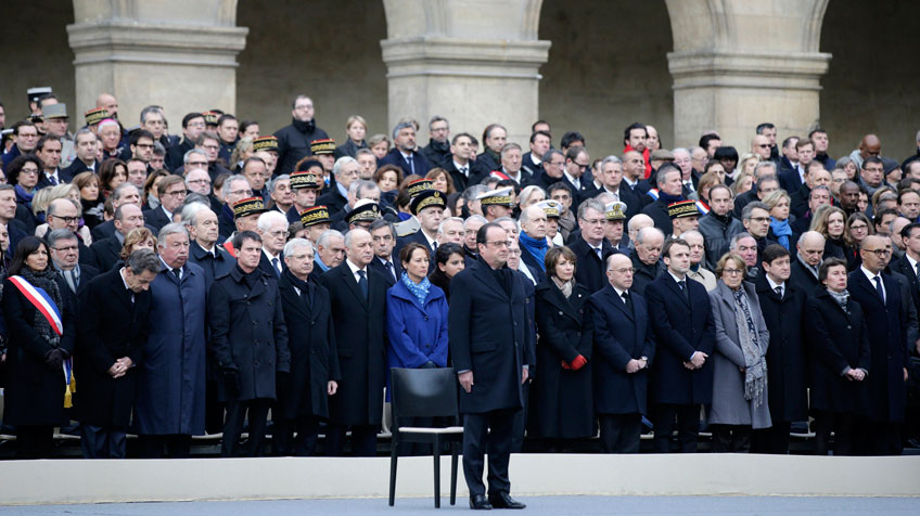 Homenagem em Paris às vítimas dos atentados.