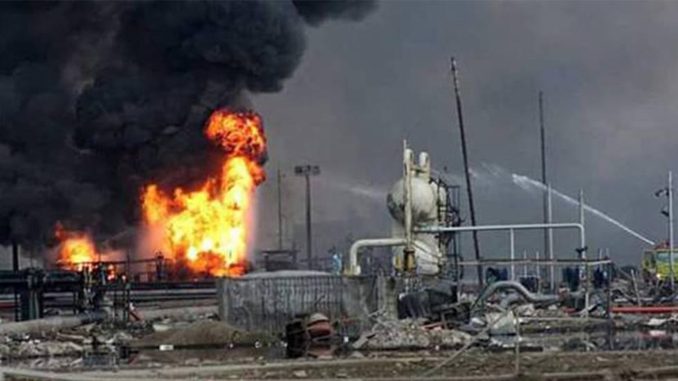 A planta de Pemex que registrou uma explosão em Veracruz.