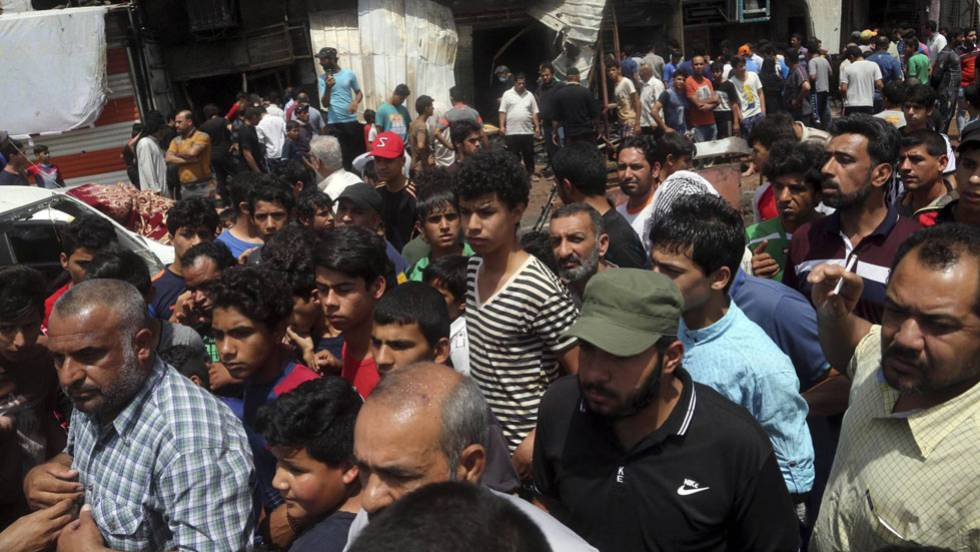 O mercado onde explodiu o carro bomba, na quarta-feira.