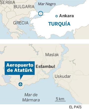Mapa de localización del aeropuerto de Atatürk de Estambul