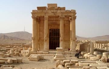 Columnata de entrada del templo de Baal Shamin, en una fotografía de octubre de 2009.