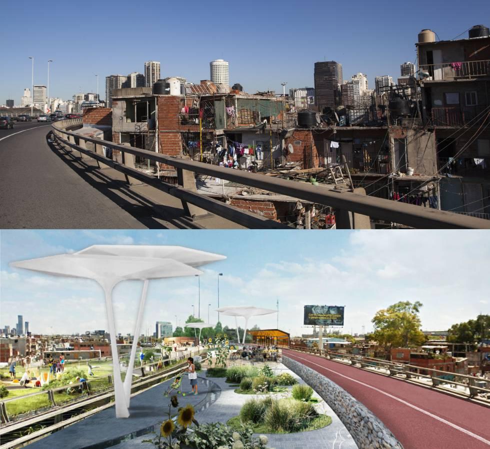 Antes y después. El gobierno de Buenos Aires convertirá en un parque en altura sel trazado actual de la autopista.
