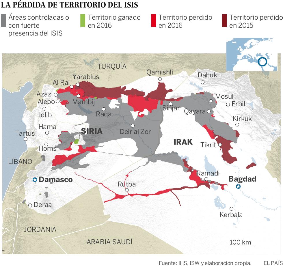 mapa del isis en siria e irak