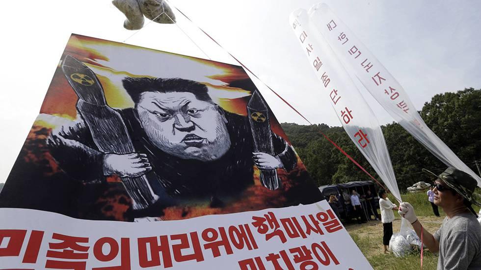 Manifestantes contra o líder norte-coreano depois do último teste nuclear.
