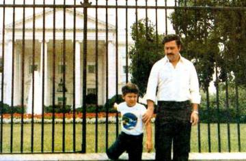61d77788a5 Pablo Escobar and his son Juan Pablo in front of the White House in 1981.
