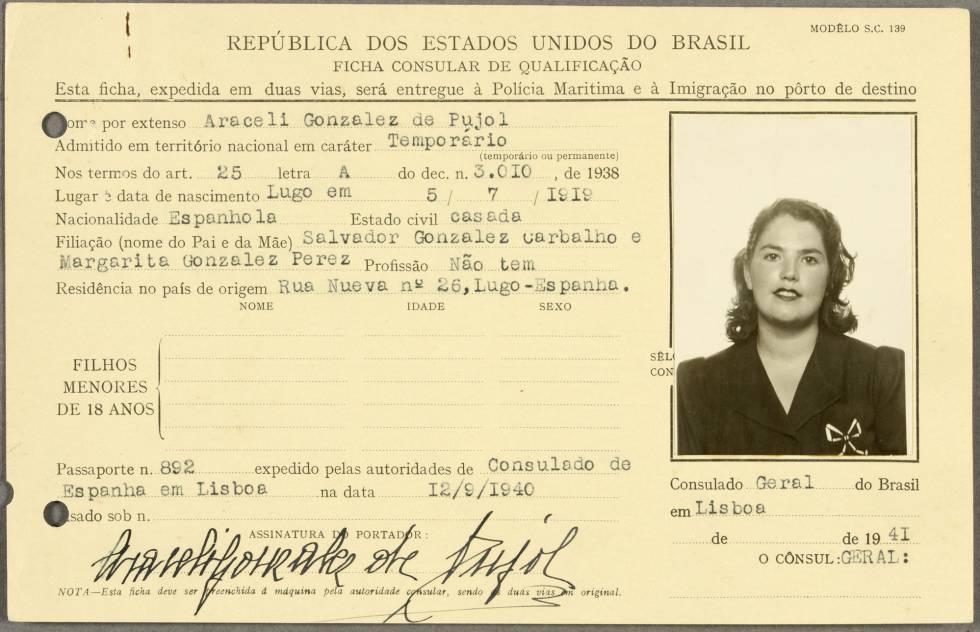 Identificación de Araceli González, hecha pública este miércoles por el Archivo Nacional Británico.