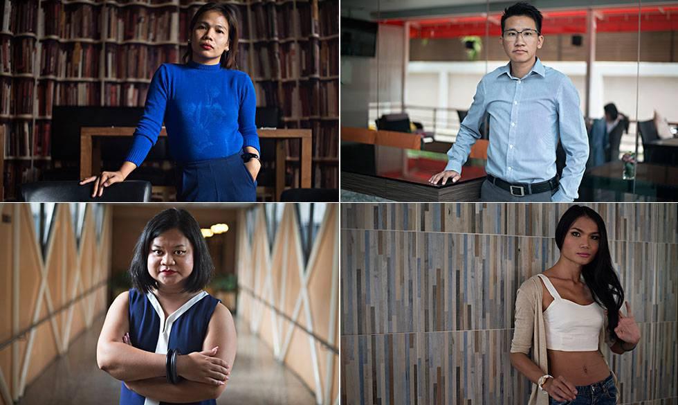 Pet, Kath, Kaona y Mimi cuatro trabajadores transexuales que han sufrido discriminación laboral en Tailandia.