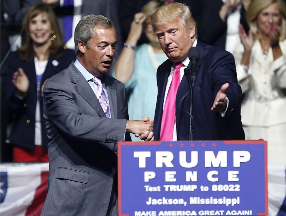 Donald Trump y Nigel Farage, durante un mítin, este agosto, en Jackson.