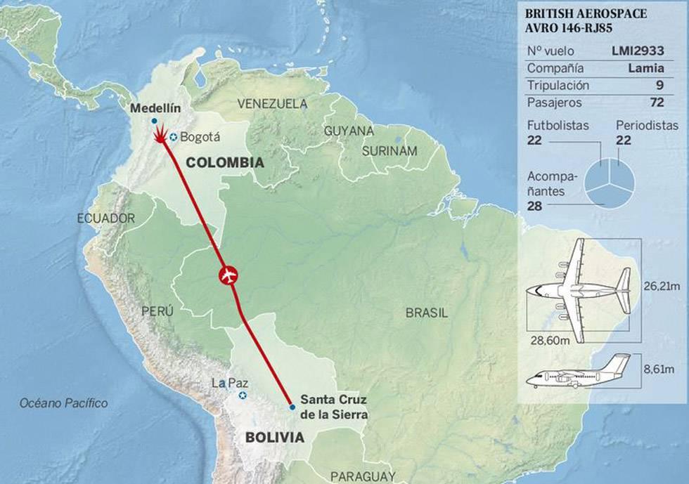 Lugar del accidente de avion en Colombia