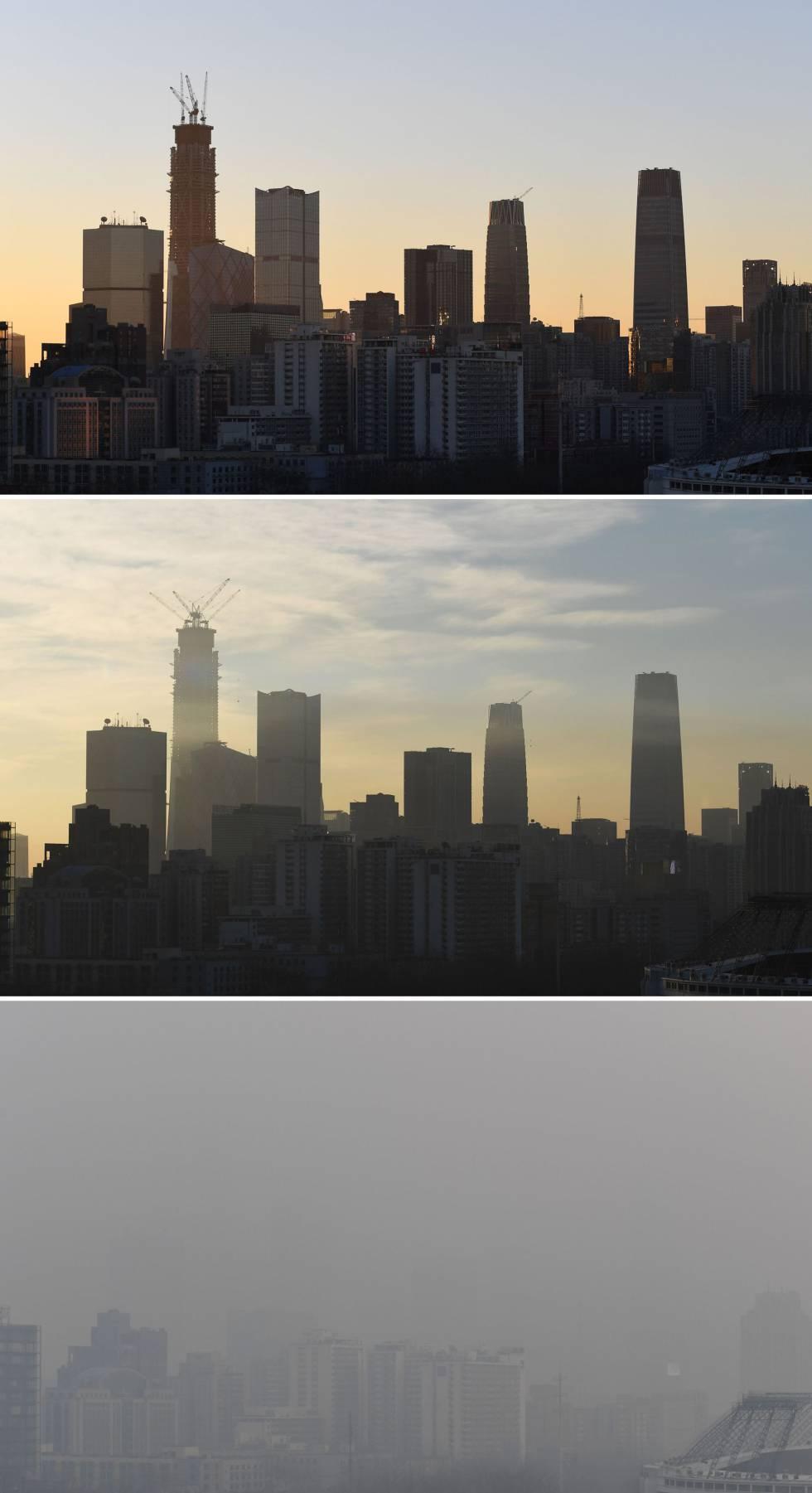 Vista del centro financiero de Pekín el 14 de diciembre (arriba), este viernes (al medio) y este sábado (abajo).