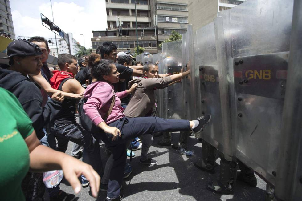 Protests against food shortages in Caracas, in June.