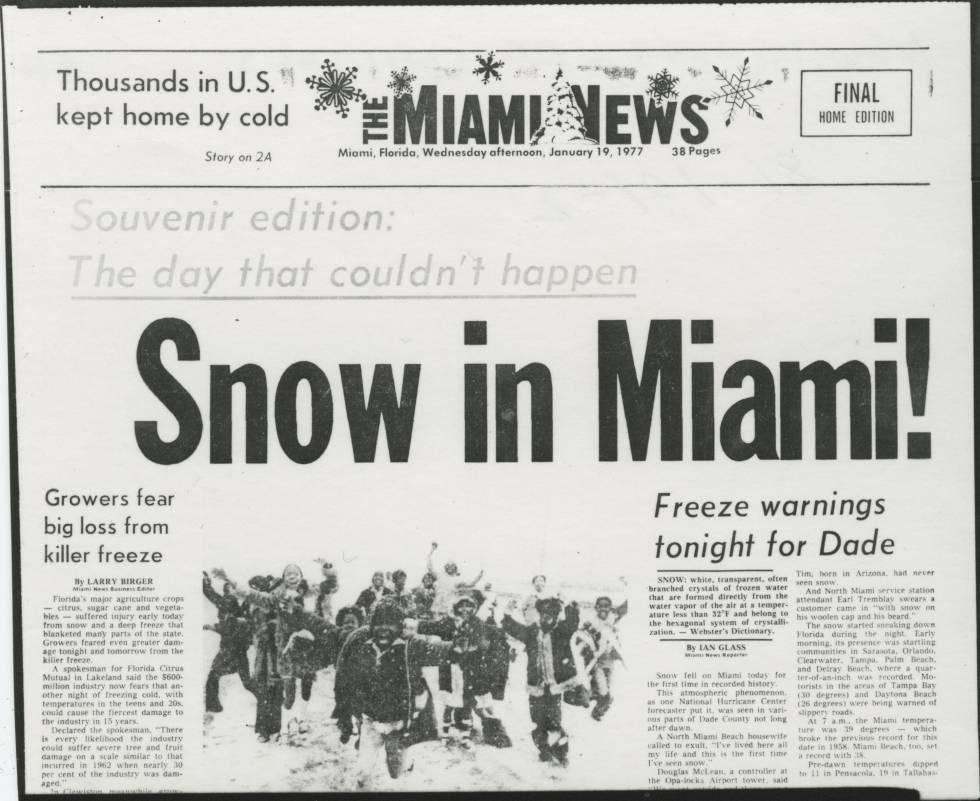Portada del Miami News el 19 de enero de 1977.