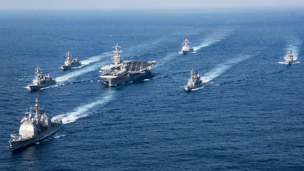 Resultado de imagen de EE.UU. despliega un segundo portaaviones nuclear cerca de la península de Corea