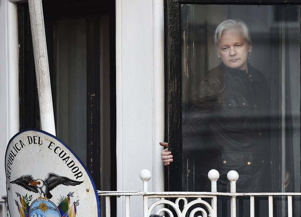 Julian Assange, at the Ecuador embassy in London.
